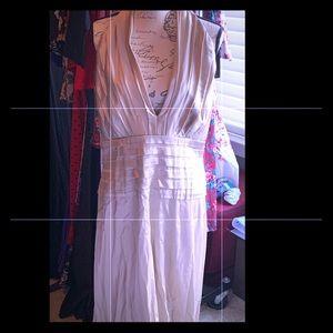 Champagne silk long halter gown by Tadaschi Soji